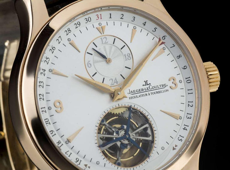Jaeger-LeCoultre 18 Karat Rose Gold Silver Dial Master Tourbillon Q1652420 In Excellent Condition For Sale In London, GB