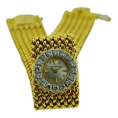 Jaeger LeCoultre 18Kt Yellow Gold Moderne Style Mesh Bracelet  LadieDress Watch