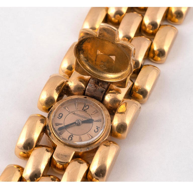 Jaeger-LeCoultre, a Ladies Gold Manual Wind Cocktail Bracelet Watch In Excellent Condition For Sale In Firenze, IT