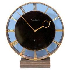 Jaeger-LeCoultre Art Deco Bronze and Blue Glass Clock