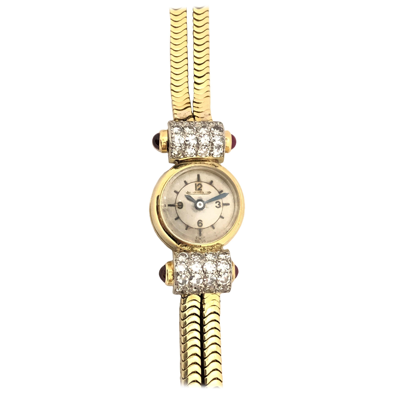 Jaeger-LeCoultre Art Deco Gold and Gem Set Ladies Wristwatch