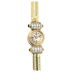 Jaeger-LeCoultre Art Deco Gold and Gem Set Ladies Wristwatch