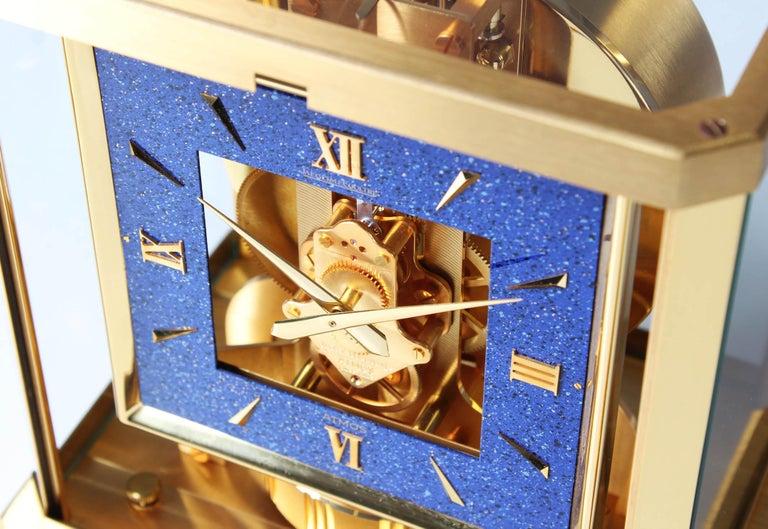 Mid-Century Modern Jaeger LeCoultre Atmos Clock, Lapislazuli Blue Dial, Kal. 528, Year 1979 For Sale