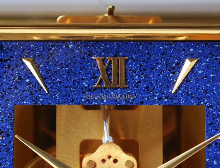 Gilt Jaeger LeCoultre Atmos Clock, Lapislazuli Blue Dial, Kal. 528, Year 1979 For Sale
