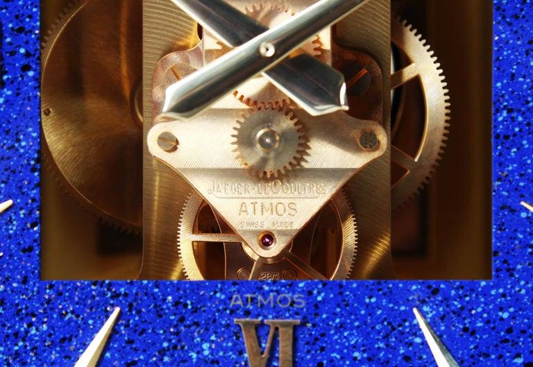 Jaeger LeCoultre Atmos Clock, Lapislazuli Blue Dial, Kal. 528, Year 1979 In Good Condition For Sale In Greven, DE