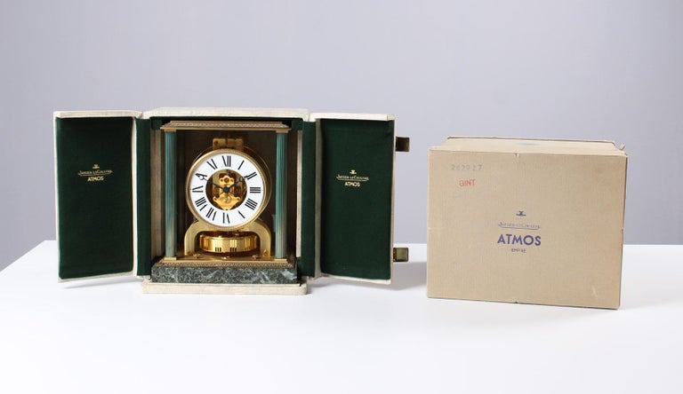 Jaeger LeCoultre, Atmos Vendome, 1968, Marble Base, Original Box For Sale 7