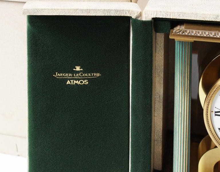 Jaeger LeCoultre, Atmos Vendome, 1968, Marble Base, Original Box For Sale 8