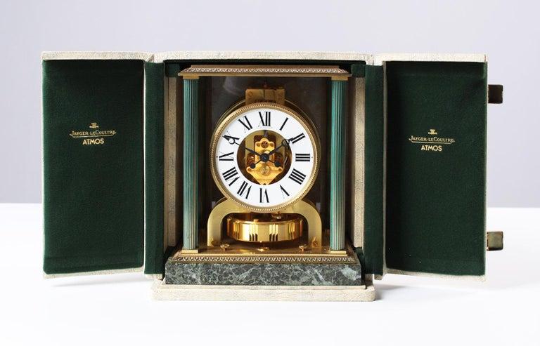 Brass Jaeger LeCoultre, Atmos Vendome, 1968, Marble Base, Original Box For Sale
