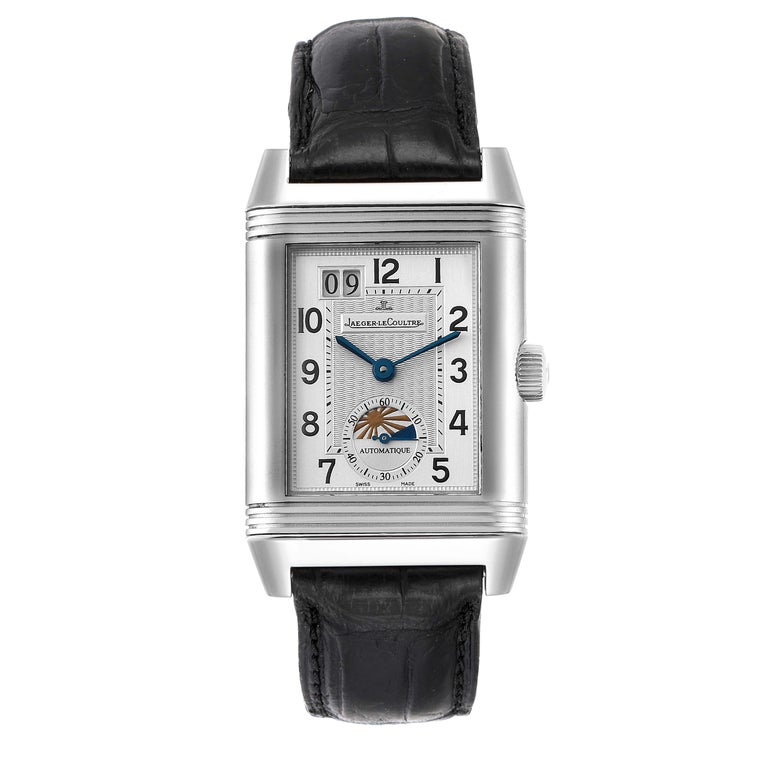 Jaeger LeCoultre Grande Reverso Date Watch 240.8.72 Q3038420 Box Papers. Rhodium-plated, fausses cotes decoration, straight line lever escapement, monometallic balance, shock absorber, self-compensating free-sprung flat balance spring, rotor with