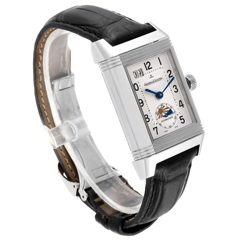 Jaeger LeCoultre Grande Reverso Date Watch 240.8.72 Q3038420 Box Papers In Excellent Condition For Sale In Atlanta, GA