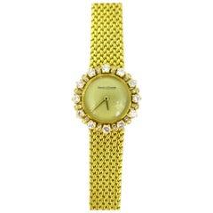 Jaeger LeCoultre Lady Diamond Yellow Gold Manual Wind Wristwatch