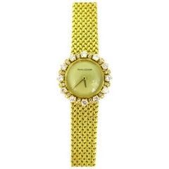 Jaeger LeCoultre Lady Diamond Yellow Gold Manual Wind Wristwatch