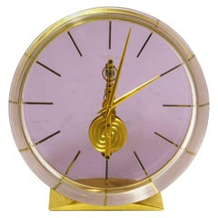 Jaeger-LeCoultre Lucite and Gilt Metal Skeleton Table Clock
