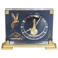 Jaeger-LeCoultre Mantel Clock Lucite and Brass, circa 1960