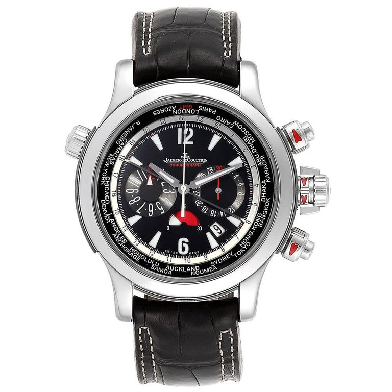 Jaeger Lecoultre Master Compressor Extreme Mens World 150.8.22 Q1768470. Self-winding automatic chronograph movement. Stainless steel case 46.3 mm in diameter. Concave and curved lugs. The winding crown and round chronograph pushbuttons have red