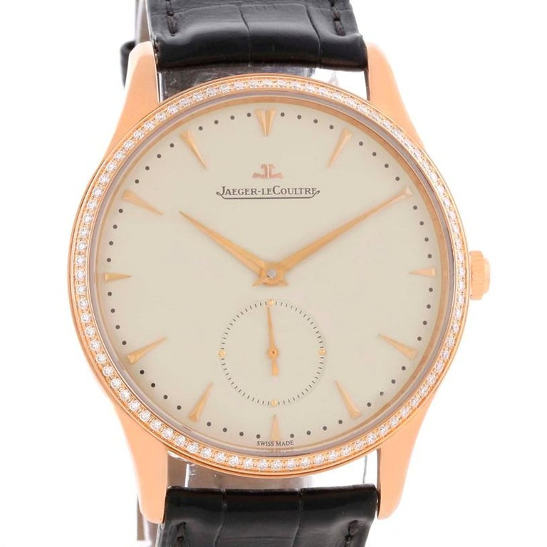 Jaeger Lecoultre Master Control Rose Gold Diamond Watch Q1352502. Automatic self-winding movement. 18K rose gold ultra-thin round case 40.0 mm in diameter. Curved lugs. Exhibition caseback secured by four screws. Scratch resistant sapphire crystal.