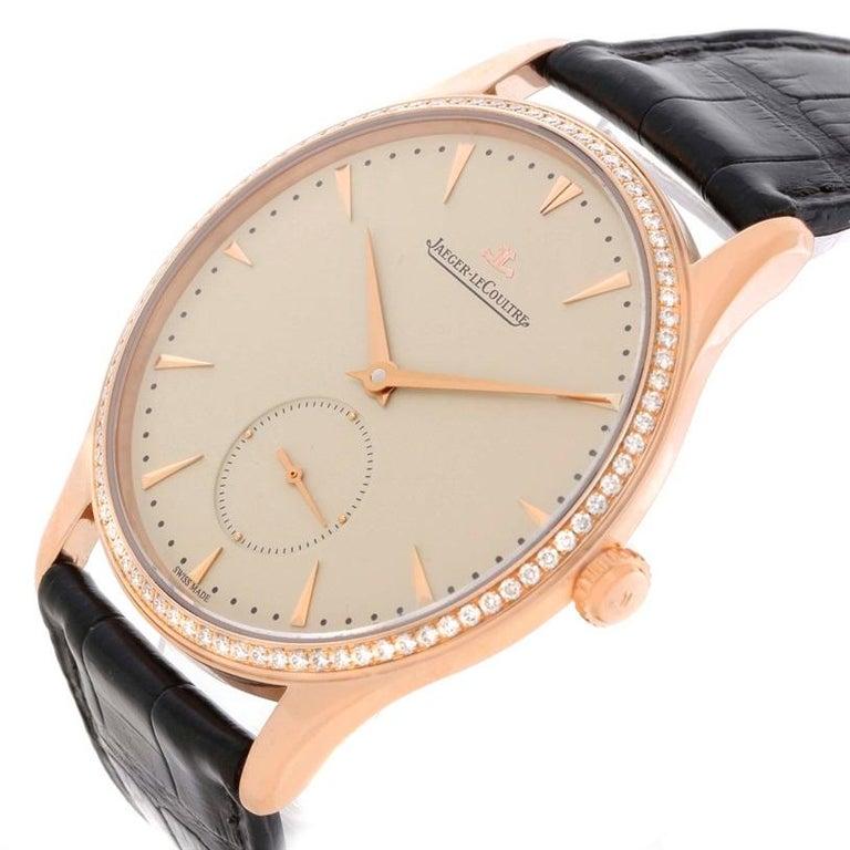 Brilliant Cut Jaeger-LeCoultre Master Control Rose Gold Diamond Watch Q1352502 For Sale