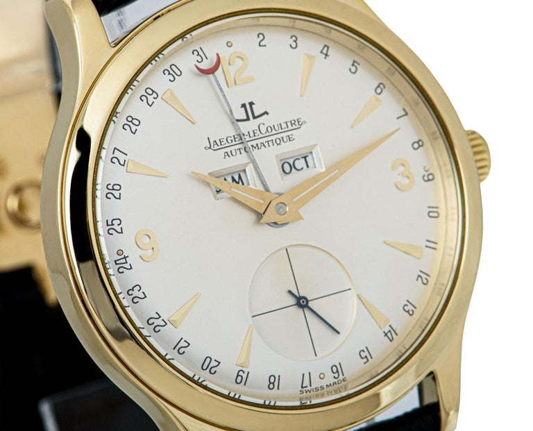 Jaeger-LeCoultre Master Date Gents 18 Karat Yellow Gold Silver Dial 140.1.87 In Excellent Condition For Sale In London, GB