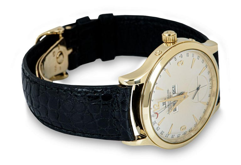Men's Jaeger-LeCoultre Master Date Gents 18 Karat Yellow Gold Silver Dial 140.1.87 For Sale