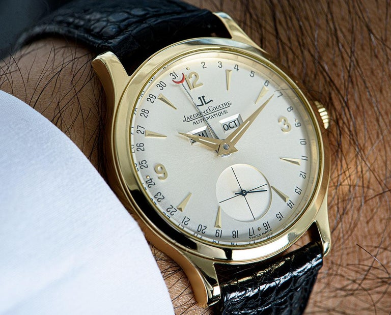 Jaeger-LeCoultre Master Date Gents 18 Karat Yellow Gold Silver Dial 140.1.87 For Sale 3