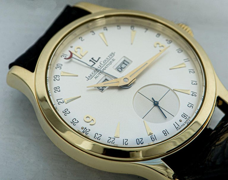 Jaeger-LeCoultre Master Date Gents 18 Karat Yellow Gold Silver Dial 140.1.87 For Sale 4