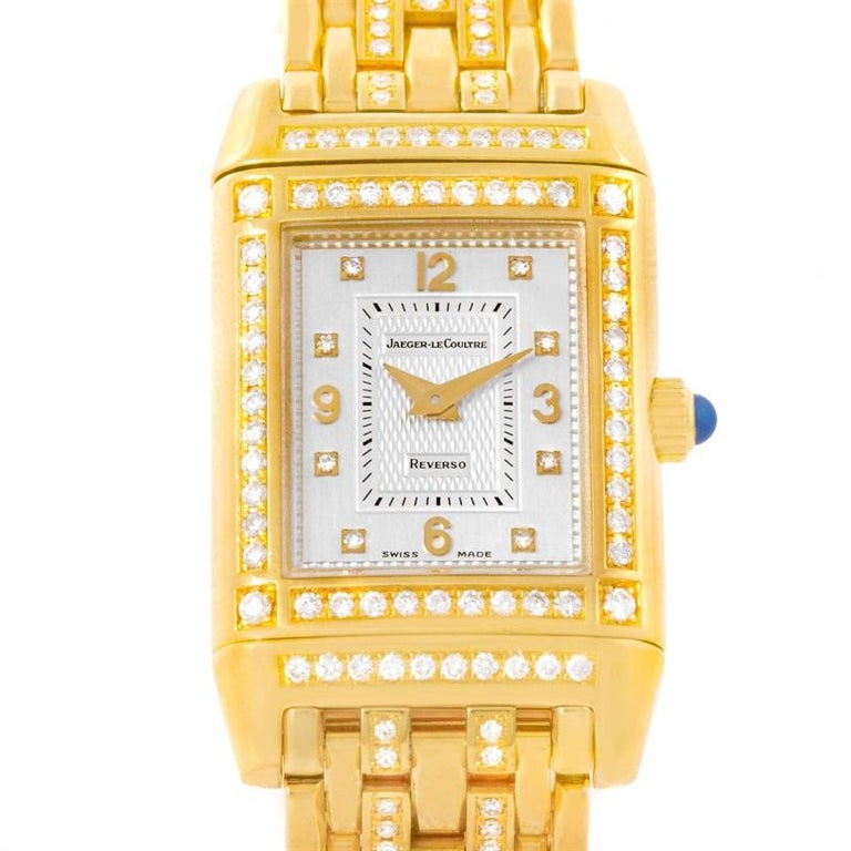 4b7e528d64ba Jaeger LeCoultre Reverso 18 Karat Yellow Gold Diamond Ladies Watch 267.1.86  For Sale