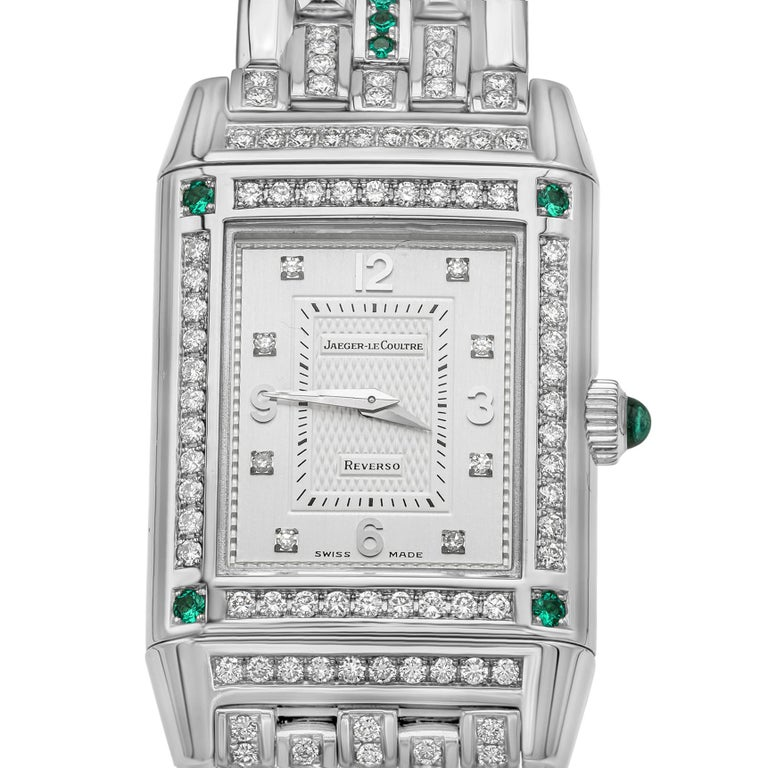 Contemporary Jaeger-LeCoultre Reverso Diamond and Emerald White Gold Ladies Wristwatch For Sale