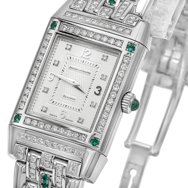 Round Cut Jaeger-LeCoultre Reverso Diamond and Emerald White Gold Ladies Wristwatch For Sale