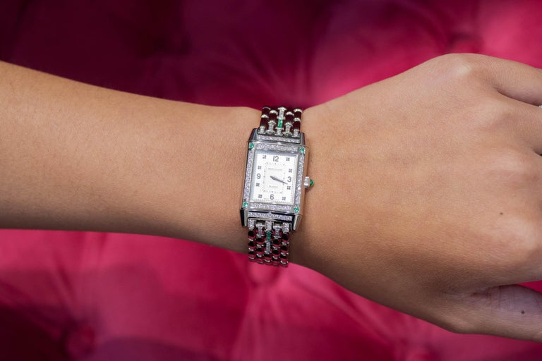 Jaeger-LeCoultre Reverso Diamond and Emerald White Gold Ladies Wristwatch In Excellent Condition For Sale In New York, NY