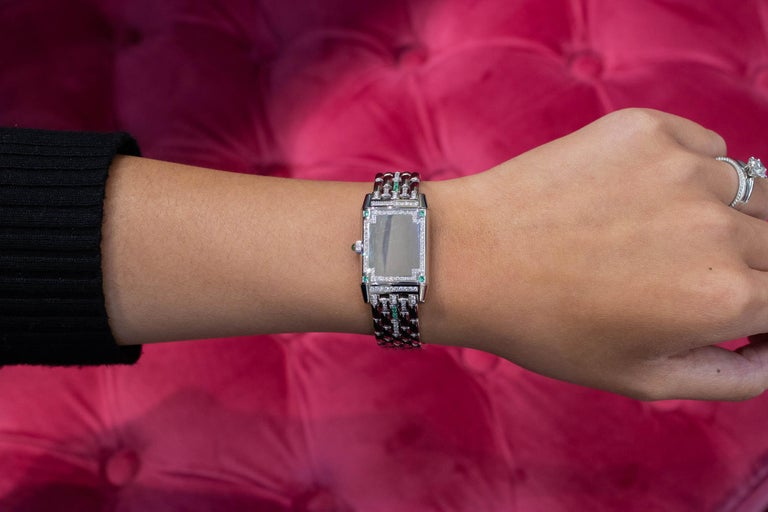 Women's Jaeger-LeCoultre Reverso Diamond and Emerald White Gold Ladies Wristwatch For Sale