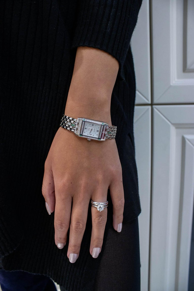 Jaeger-LeCoultre Reverso Diamond and Emerald White Gold Ladies Wristwatch For Sale 1