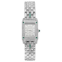 Jaeger-LeCoultre Reverso Diamond and Emerald White Gold Ladies Wristwatch