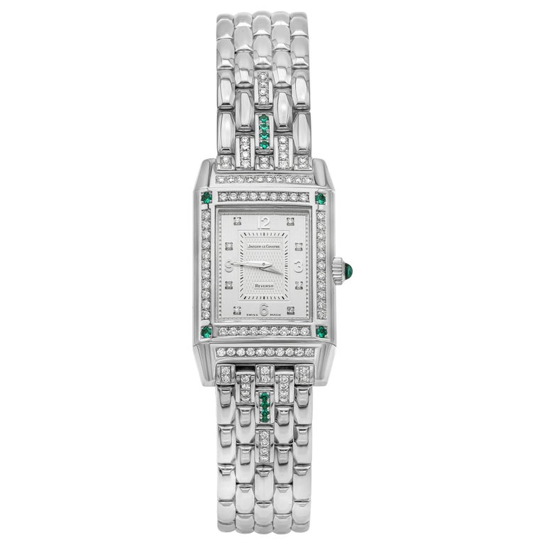 Jaeger-LeCoultre Reverso Diamond and Emerald White Gold Ladies Wristwatch For Sale