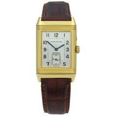 Jaeger LeCoultre Reverso Duo 18K Gold Silver Dial Hand Wind Men's Watch 270.1.54