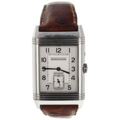 Jaeger LeCoultre Reverso Duoface Day Night Leather Steel Watch 270.8.54 Q270854