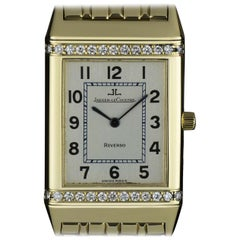 Jaeger LeCoultre Reverso Mid-Size Yellow Gold Silver Dial Diamond Set B&P