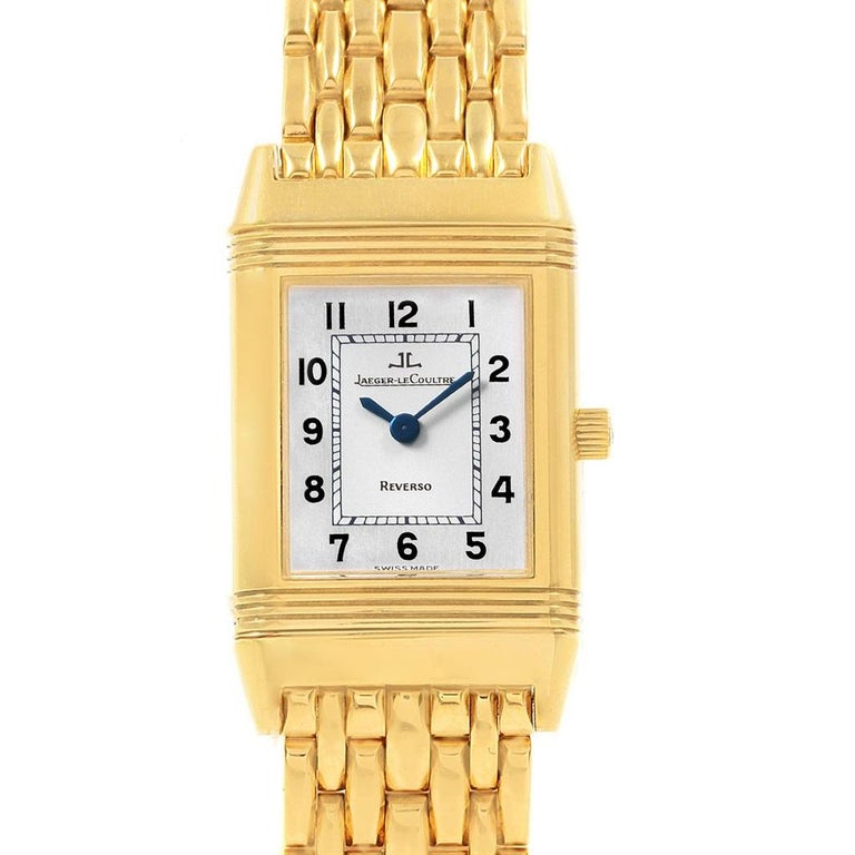 92c6f6d716fd Jaeger LeCoultre Reverso Silver Dial Yellow Gold Ladies Watch Q2611110 In  Excellent Condition For Sale In