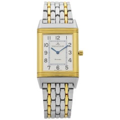 Jaeger-LeCoultre Reverso Steel 18k Gold Silver Dial Quartz Men's Watch 250.5.08