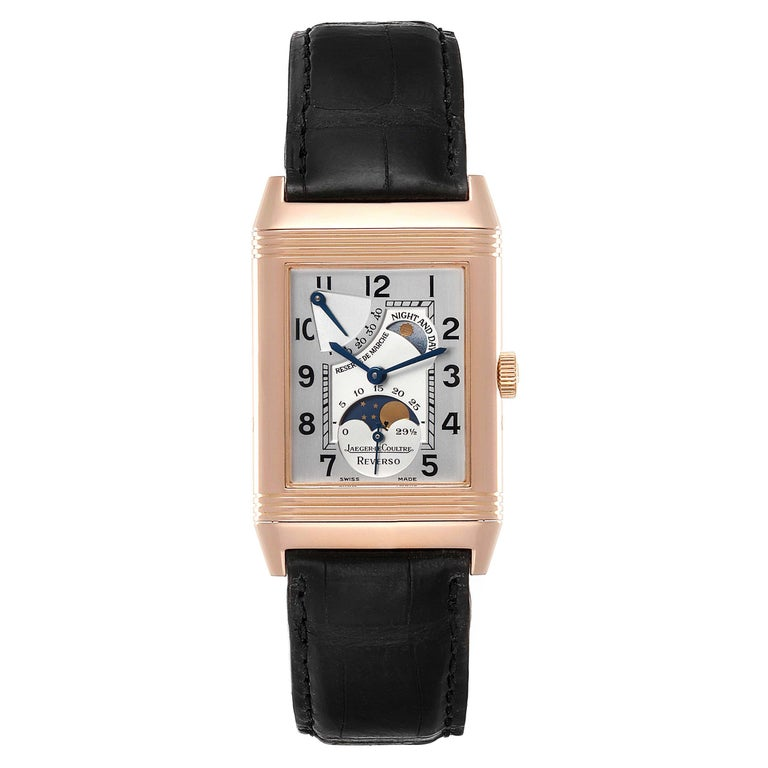 Jaeger LeCoultre Reverso Sun Moon Rose Gold Watch 270.2.63 Q3042420. Manual winding movement. 18K rose gold 42.2 x 26.1 mm case rectangular rotating case. Exhibition case back. 18K rose gold ribbed bezel. Scratch resistant sapphire crystal. Silver