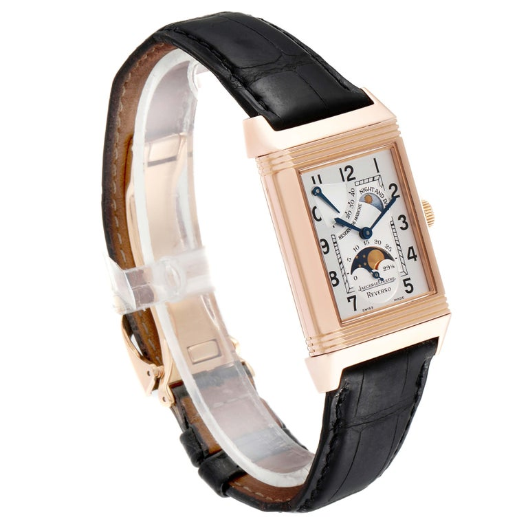 Jaeger LeCoultre Reverso Sun Moon Rose Gold Watch 270.2.63 Q3042420 In Excellent Condition For Sale In Atlanta, GA