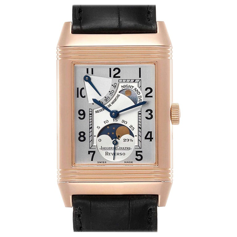 Jaeger LeCoultre Reverso Sun Moon Rose Gold Watch 270.2.63 Q3042420 For Sale