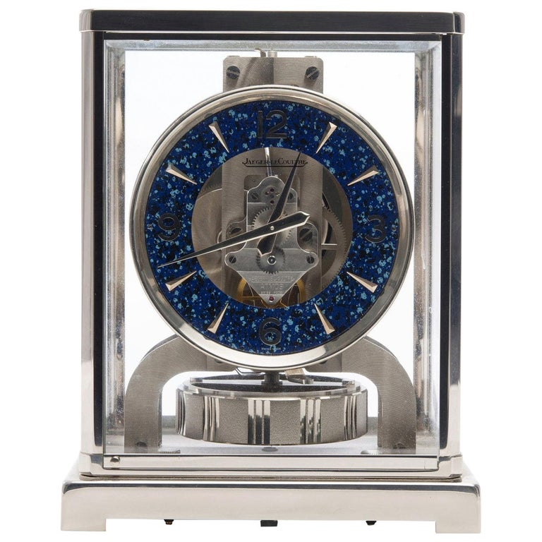 Jaeger-LeCoultre Rhodium-Plated Royale Atmos Clock, circa 1974 For Sale