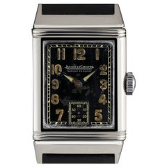 Jaeger LeCoultre Stainless Steel Black Arabic Dial Reverso Vintage Watch