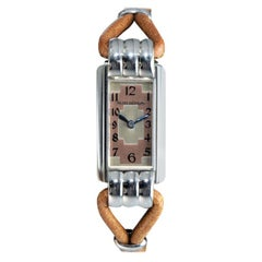 Jaeger-LeCoultre Steel Art Deco Ladies Cord Back Winding Watch, circa 1930s