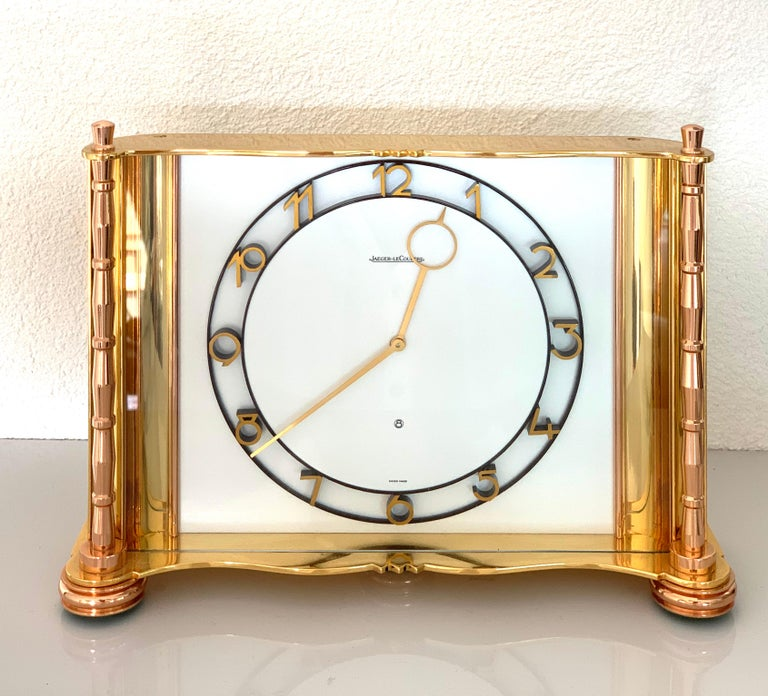 Swiss Jaeger-LeCoultre Switzerland Vintage Table Brass Clock, 1930 For Sale