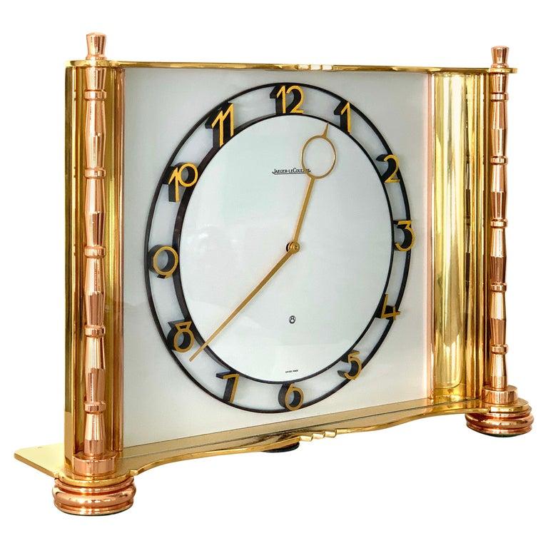 Jaeger-LeCoultre Switzerland Vintage Table Brass Clock, 1930 For Sale