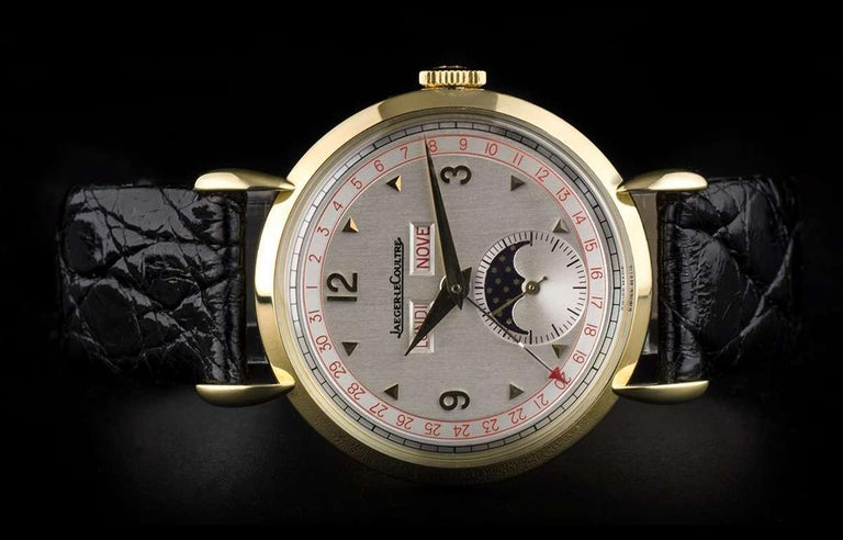 Men's Jaeger-LeCoultre Triple Date Moonphase Vintage Gents 18k Yellow Gold Silver Dial For Sale