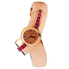 Jaeger LeCoultre Vintage Ruby 18K Gold Bypass Cuff Bracelet  Watch