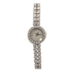 Jaeger-LeCoultre White Gold and Diamond Back Wind Ladies Bracelet Watch