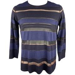 JAEGER Size L Navy & Black Stripe Wool Blend Crew-Neck Pullover